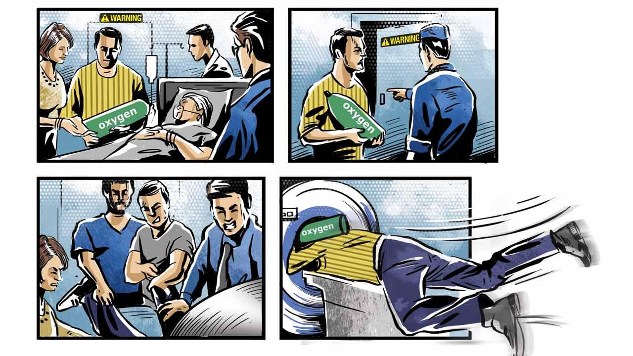 醫護人員請家屬幫忙拿「氧氣瓶」做核磁共振,他一進入「連人帶瓶秒被吸進去」全身腫脹爆血慘死