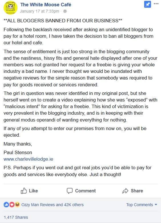 網紅詢問用業配文「換免費住宿」,老闆爆氣「公開內容」開酸...大肆嘲諷成戰神!