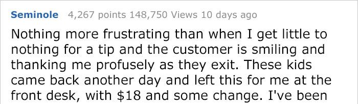 「600元小費只給100」服務生崩潰 隔天卻收到從業以來「最美妙禮物」