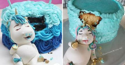 史上最萌「偷吃蛋糕的3D獨角獸蛋糕」,一臉「吃飽喝足模樣」女生版讓人太揪心!