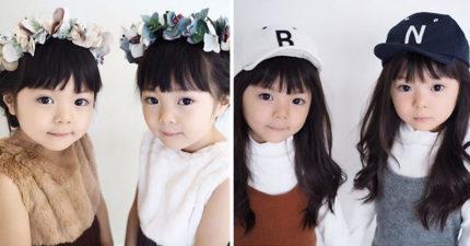 才4歲!日本超萌「天使雙胞胎模特兒」Q臉+超有型穿搭席捲IG,「超正媽媽&姊姊」證明神基因遺傳!(20張)