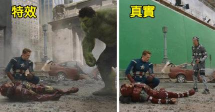 19張讓你腦袋炸開的「好萊塢電影特效片段VS真實畫面」對比圖,《美國隊長》演員的想像力讓人跪了!