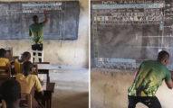 沒電腦怎麼辦?非洲電腦課老師在「黑板上畫Microsoft Word」教學生,拉近看「超狂擬真功能細節」網全跪了!