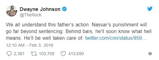 受害者父親暴打美體壇淫魔隊醫,巨石強森力挺「說出他在監獄裡會有的悲慘下場」