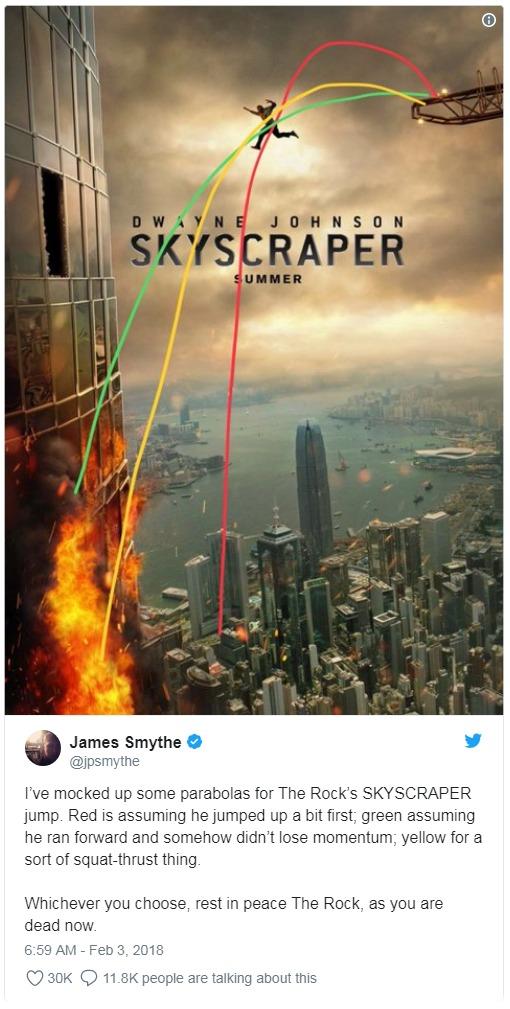 《摩天大樓》前導海報網友揭「世紀不合理之謎」,崩壞「畫3色線」解析:巨石強森早死透了!