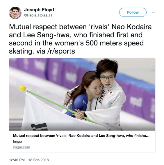 冬奧日本滑冰選手「奪金不慶祝」,轉身安慰韓國銀牌選手餵觀眾吃洋蔥!