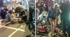 3機車追撞煞不住「滑進奧迪屁股」,網友竟然只歪樓關心「那雙腿沒事吧?」