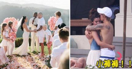 小賈斯汀拉賽琳娜「觀摩老爸婚禮」,海邊熱情擁吻「耐不住的性子全寫在腰際上!」