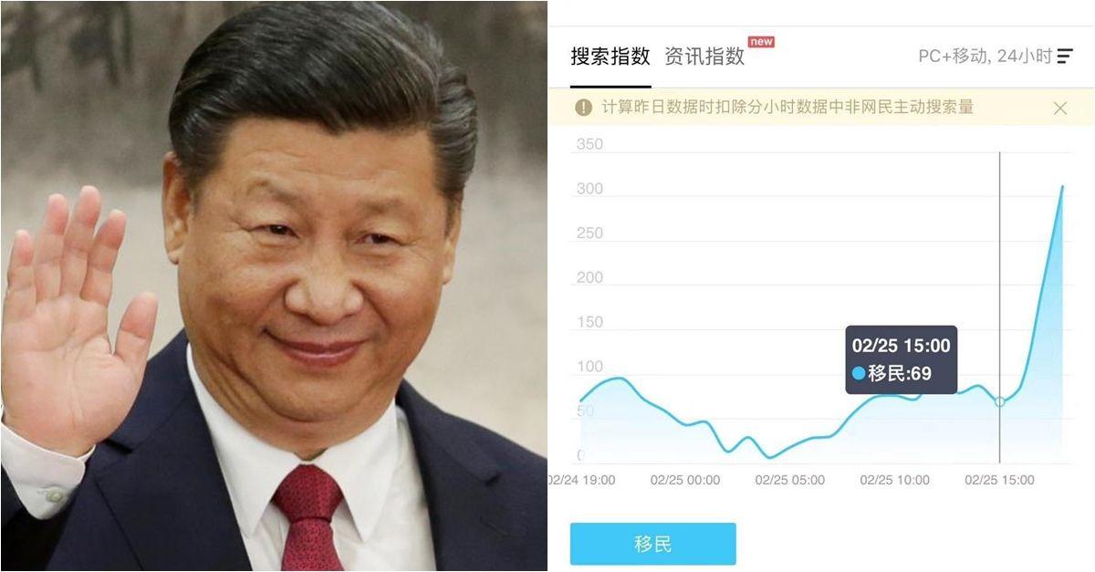 習近平計畫「準備恢復皇帝制」取消任期制,中國網友憋嘴不談「身體很誠實的搜尋:移民」