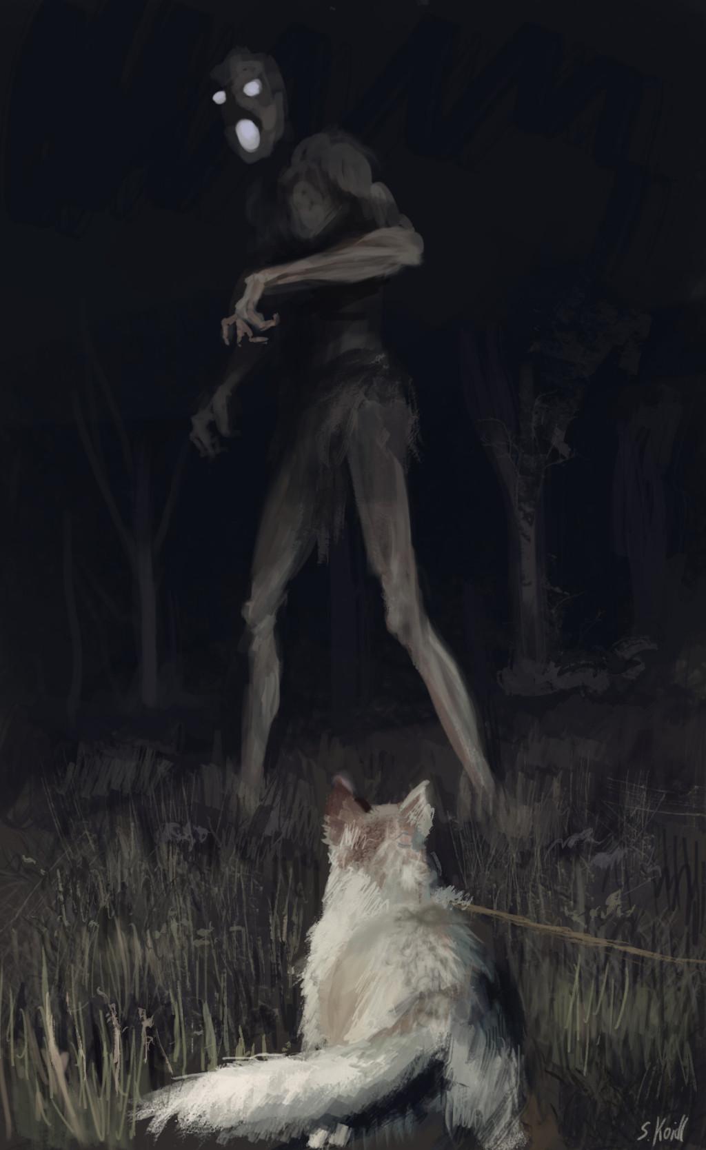21張把大家小時候「惡夢」現實化的恐怖彩色插畫,背對你的長髮白衣女...