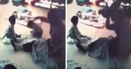 台中肥保母「舉7月女嬰當不倒沙包狂摔」,推倒又立起來「巴頭伺候」最後女嬰臉朝下沒起來了...(影片)