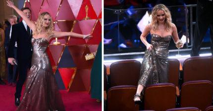 紅雀演完人生大解放!小珍妮佛奧斯卡「拿酒杯當ㄎㄧㄤ妹」,當眾撩開禮服「跨坐」嚇壞男賓客!