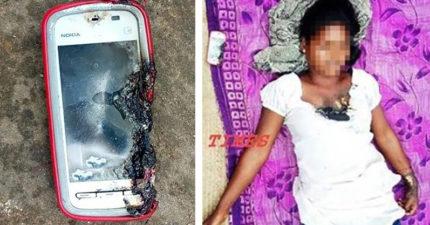 這次不是三星!18歲女邊充電邊講電話「手機突爆炸」,「胸口手腳被炸到爛焦黑」當場斷魂!