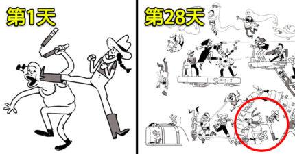 漫畫家挑戰「每天加一個人物到這畫裡」,最新更新「第74天」根本狂到可以拍電影了!