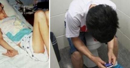 24歲男「邊蹲廁所邊滑手機」爽玩半小時,昏倒被送醫急救「眼睛睜開卻再也動不了了」...