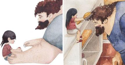 19張再怎麼強壯的男人都會「敗給女兒」的感人父女插畫!