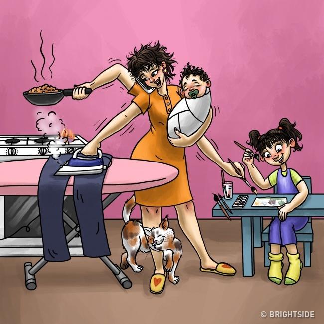 11張讓你「讚嘆媽媽魔法」的暖心插畫 一個眼神...你就改變主意!