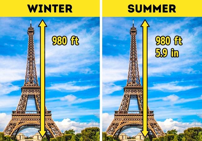 16個「會讓你的智慧+100」的驚奇科學知識 夏天的艾菲爾鐵塔比冬天大!