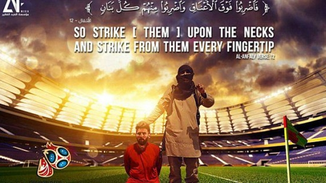 世足賽前「來自IS的挑釁」,新版海報「暗示取下梅西頭顱」