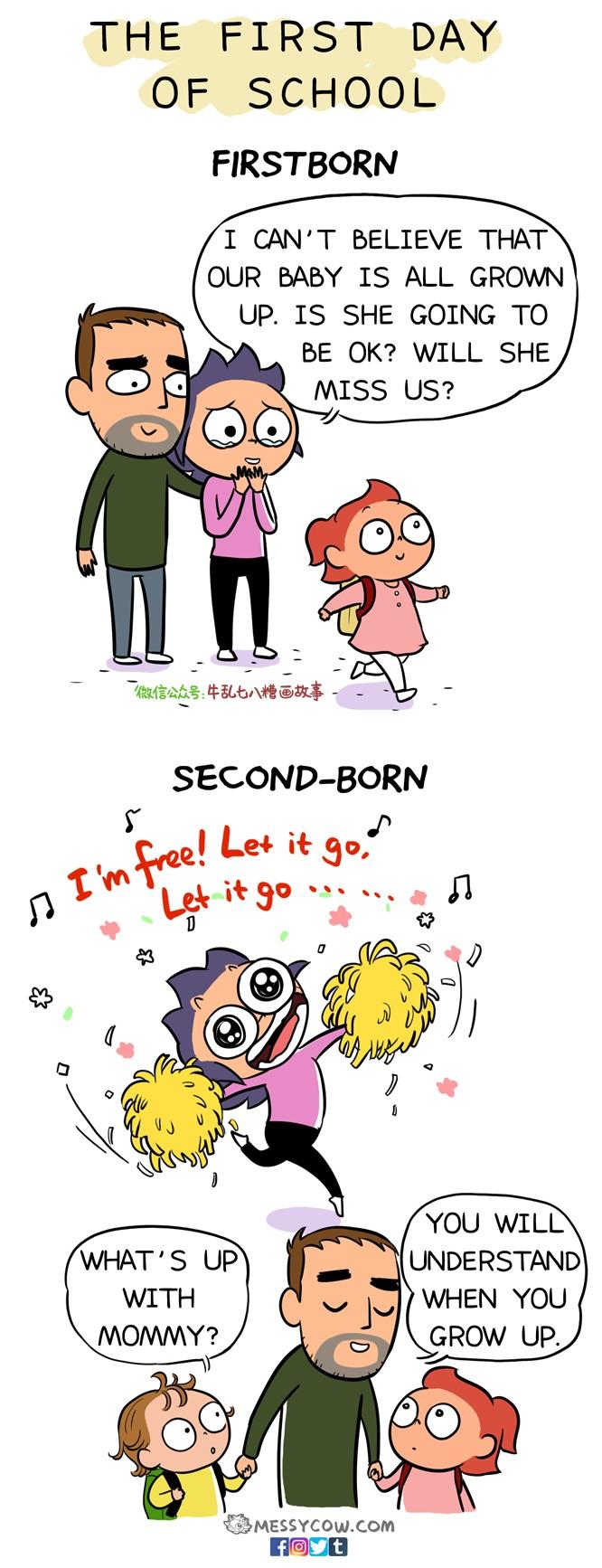 11張媽媽「生兩胎心很累」的前後對比圖 第一胎當寶貝,第二胎就隨便?