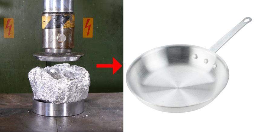 挑戰用液壓機把「鋁箔紙」加成一個商店裡賣的煎鍋...網友:以後買液壓機就好了
