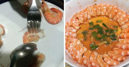 不髒手剝蝦法!湯匙+叉子超狂組合 3秒直接優雅吞蝦