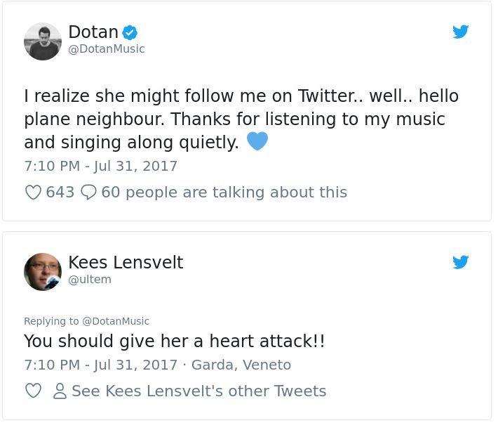 女粉絲搭機聽歌沒發現「原唱就在旁邊」 聊到下飛機「後續發展」超意外!