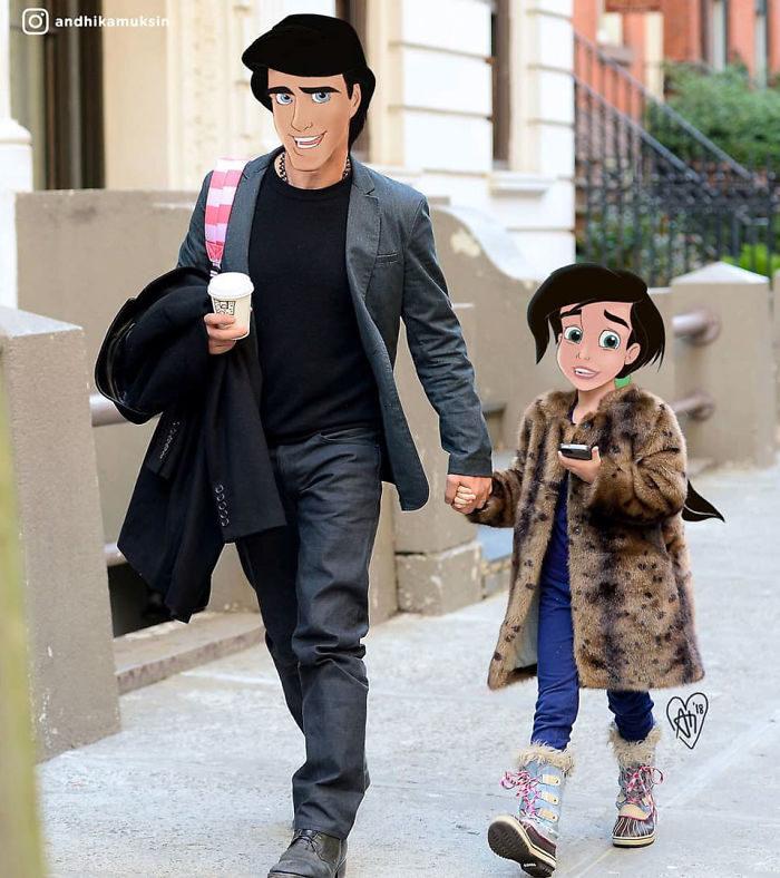 插畫家把迪士尼人物「P進現代世界照」 地鐵上捕獲野生灰姑娘!(30幾張)