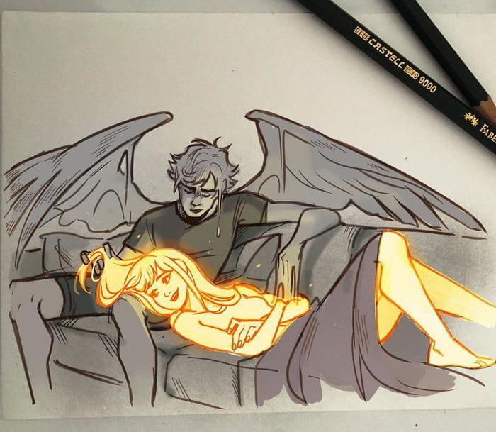 插畫家繪出「太陽女&蠟燭男」愛戀 最終結果令人泛淚
