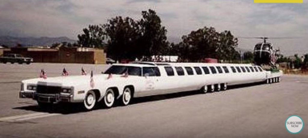 世界最長的車除了必須要兩人駕駛、有內建「按摩浴缸」外,後面搭配直升機停機坪...