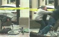 他騎腳踏車經過「看到謎樣背包擋路」 彎腰去撿瞬間秒被撲倒:別動!