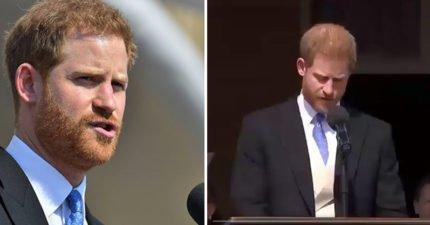 哈利王子演講被「不速之客」偷襲!梅根反應超可愛:老公呆呆的❤