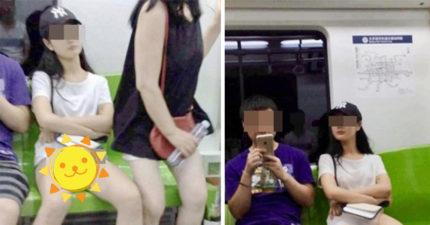 地鐵捕獲長髮正妹腿開開 「下空亮點」害網友瘋傳!