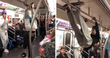 男子突然在地鐵熱身 下秒直接「掛在欄杆上」...把車廂變成最狂舞台!
