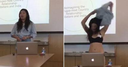 穿短褲遭教授質疑「太露」 女大生當場全脫報告:人是平等