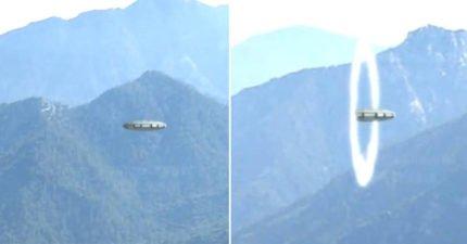山上拍到「奇異飛行物體」打開異次元大門 直接消失眼前