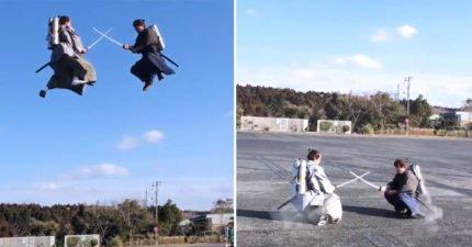 空中也可以對決!日本「噴射飛行武士」打鬥畫面比動畫還中二!