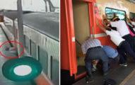 大媽發揮!硬上行駛中火車 整株人卡月台+車廂中間「乘客一早橫推車廂救人」