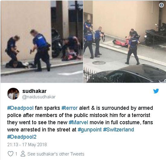 紅衣蒙面男走在街頭 被8名員警壓制在地!仔細一看...誤會大了XD