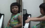 媽媽請3歲女兒「彈奏一曲」 按下鋼琴鍵那刻只能跪著聽完
