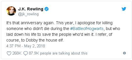 《哈利波特》20年紀念日 JK羅琳公開道歉:賜死「他」我很內疚