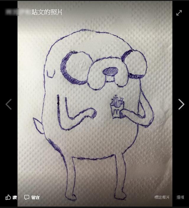 客人求畫「老皮吃薯條」成品驚豔!網加碼求:哆啦A夢吸雪碧