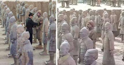 遊客驚覺「兵馬俑眼睛在動」 警方嚇壞狂找:是洋秦俑!