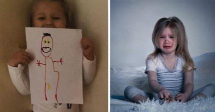 女童畫「想像的媽媽」:她還有2個寶寶,晚上都會來看我!親生媽嚇到全身汗...