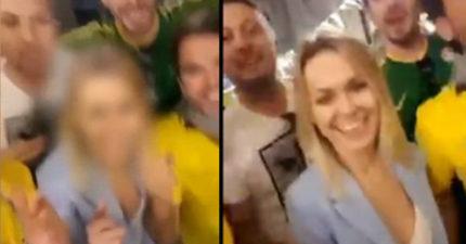 影/巴西球迷惡整俄國辣妹 跳唱「低級歌詞」手肘不安分擠壓