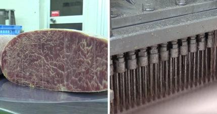 影/日工廠100支針頭做出「人造雪花牛」 紅肉注入白色脂肪超倒胃!