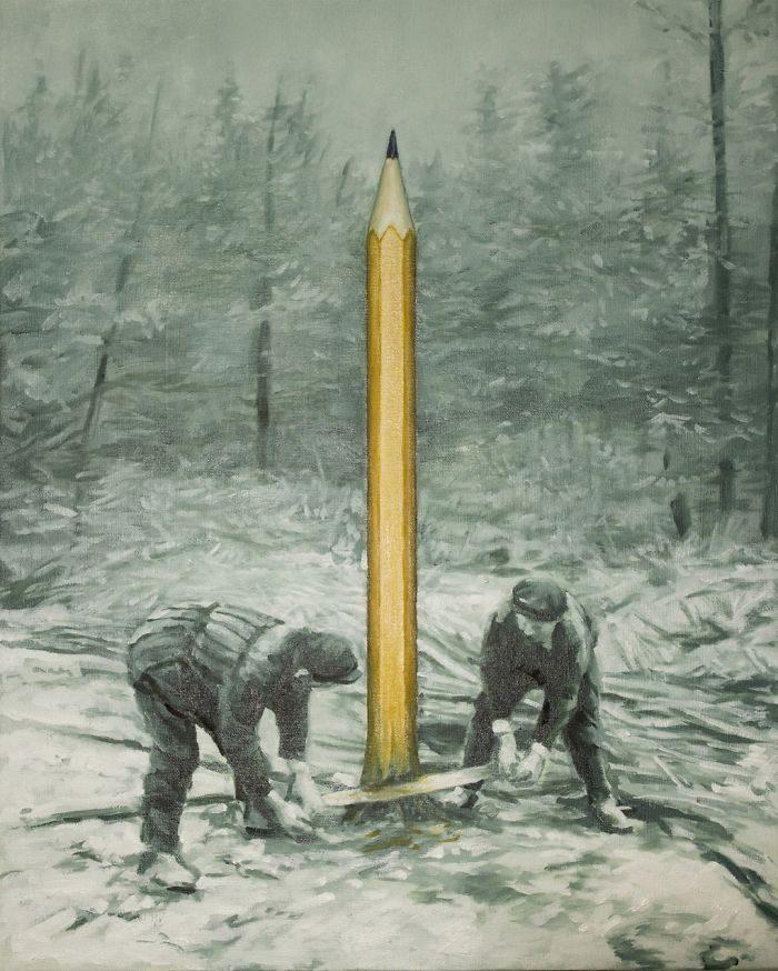 艺术家把「人类的丑陋面」绘成深度讽刺画作 北极熊VS黄色小鸭 -5b2227d916ed2