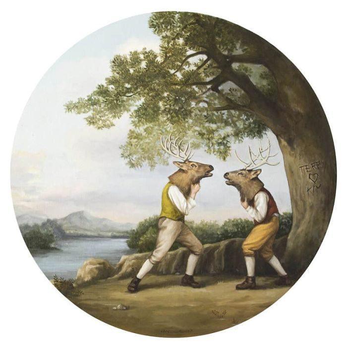 艺术家把「人类的丑陋面」绘成深度讽刺画作 北极熊VS黄色小鸭 -5b2227dcad407