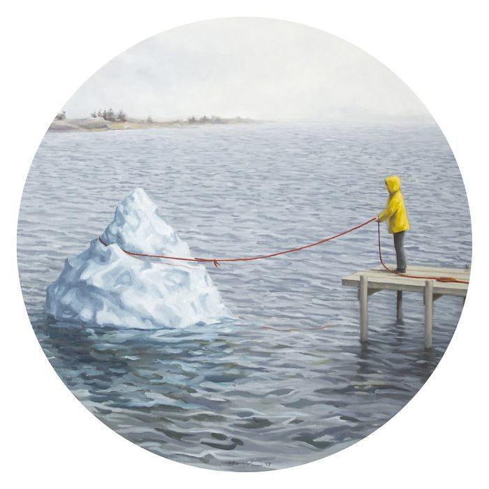 艺术家把「人类的丑陋面」绘成深度讽刺画作 北极熊VS黄色小鸭 -5b2227e050399