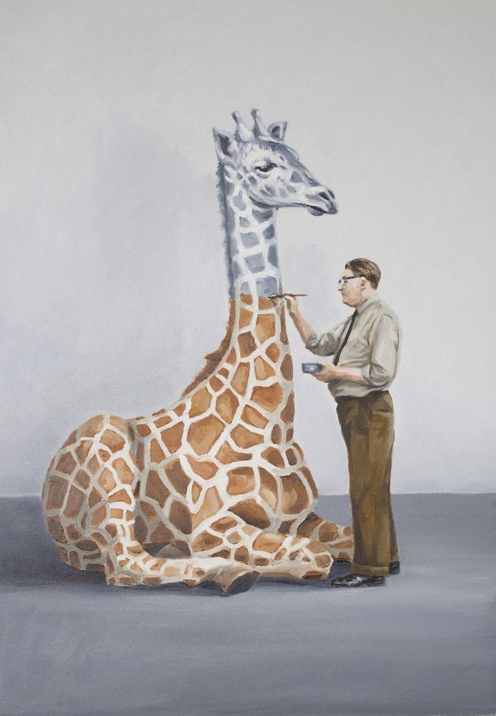 艺术家把「人类的丑陋面」绘成深度讽刺画作 北极熊VS黄色小鸭 -5b2227e34bcd0